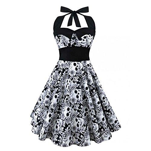 Damen Frauen Schädel Totenkopf Vintage Kleid Faltenrock Petticoat Schleife Floral Festlich Party Prom Taille Gürtel Elegant Schwarz Size S