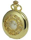 KS Taschenuhr mit Kette Herren Gold Quarz Analog Vintage Geschenkbox KSP050