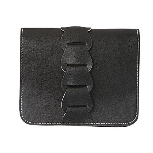 Longra Donna Cartella singola della borsa della tessitura dei fiori di tessitura Nero