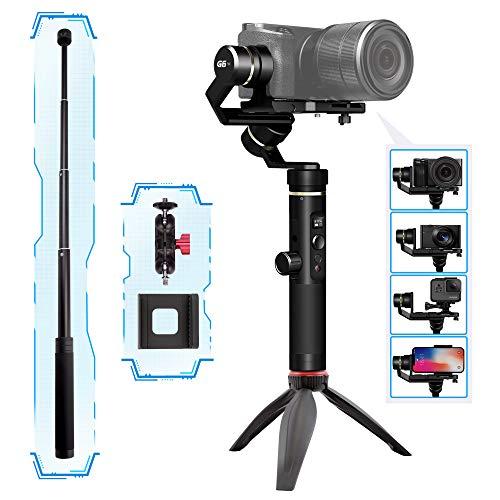 FeiyuTech G6 Plus Gopro Smartphone Gimbal Handy Video Stabilisator mit 3 Achsen Handheld Wasserdicht Steadycam Bluetooth und WiFi Unterstützt, LED Bildschirm für GoPro Hero und Kamera (Pro Go Steady Cam)