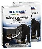 Heitmann Wäsche Schwarz Tücher (10 Tücher, Schwarz), 2er Pack: Färbetücher zur Farbpflege für schwarze Textilien - Farb-Erhalt und Farb-Erneuerung beim Waschen, Rückstandsfreie Pflege gegen Verblassungen