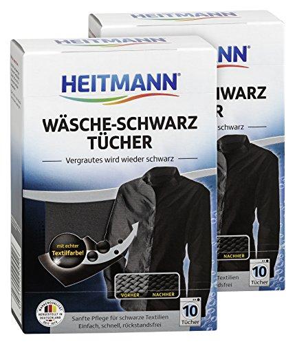 Heitmann Wäsche Schwarz Tücher (10 Tücher, Schwarz), 2er Pack: Färbetücher zur Farbpflege für schwarze Textilien - Farb-Erhalt beim Waschen, Rückstandsfreie Pflege gegen Verblassungen -