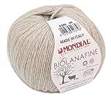 Biowolle Lane Mondial Bio Lana Fine Fb. 341 beige, 50g Reine Schurwolle zum Stricken, Babywolle Bio