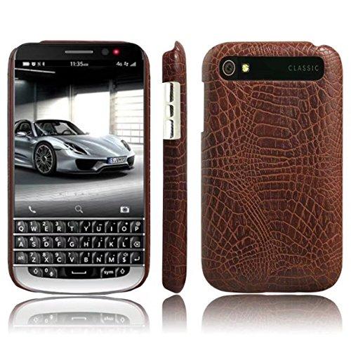 CHENJUAN Ultradünne Klassische Krokodilleder-Beschaffenheit PU-Leder Kratzfeste PC-Hartschalenabdeckung für BlackBerry-Klassiker Q20 (Farbe : Braun) (Blackberry-klassiker)