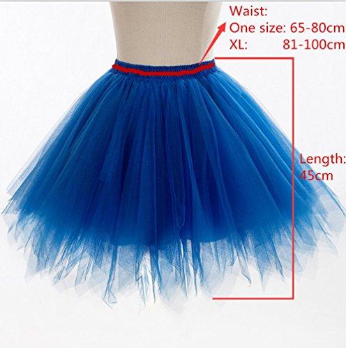 Damen Tutu Tüllrock Kurz Petticoat Unterrock Ballett Rock Tüll Reifrock in 12 Farben Blau