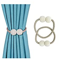 Magnetic Curtain Tiebacks 1 Pair Magnetic Curtain Straps Strong Magnetic Curtain Buckle for Home Office Pearl Shape