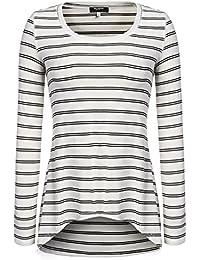 54d83743ac0d Zeagoo Damen Langarmshirt Rundhals Gestreift Asymmetrisches Shirt Tunika  Bluse Longshirt Pullover…