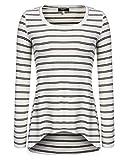 Zeagoo Damen Shirt Oberteil Pullover Bluse Tunika Langarm Shirts Tops Weiß S