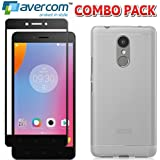 AVERCOM™ COMBO PACK 2.5D Edge To Edge Full Coverage 9H Hard Premium Tempered Glass Screen Guard Protector + Transparent Back Cover For Lenovo K6 Note (Black)