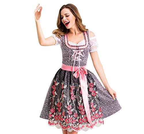 Battnot Damen Cosplay Kleider Deutsches Dienstmädchen Kleid Oktoberfest Halloween Party, Frauen Vintage Spitze Mini Kleid+Schürze+Eingewickelte Truhe 3-teiliges Set Outfits Festlich Kostüme Kleidung (3 Teiliges Krankenschwester Outfit Kostüm)