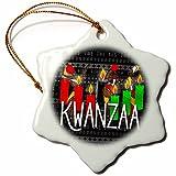 3dRose Kwanzaa - Figura Decorativa de Copo de Nieve, diseño Africano de Dancers y Kinara, 7,62 cm