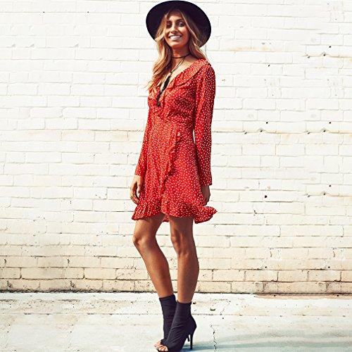CanVivi Mädchen Kleid Volants Mini Partykleid Cocktailkleid Strandkleid Sommer Frauen Kleid mit schöne Motive Rot