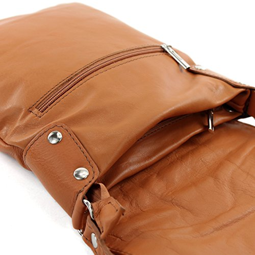 modamoda - ital. Ledertasche Schultertasche Umhängetasche Damentasche Nappaleder T33 Camel