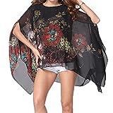 Camicetta Donna Estate Chiffon Maglia Manica 3/4 Boho Hippie Etnica Chic Kaftan Bluse Tshirt Stampa Floreale Maglietta Ragazza Tunica Copricostume Mare Pullover Top Oversized Bikini Coverup Beachwear