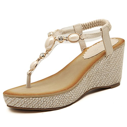 XIAOLIN Clip Toe Slope Sandales à talons Femme Eté Mode Confortable Open-toed Strass Femmes Chaussures Sandales Simple Paille (Taille Optionnelle)