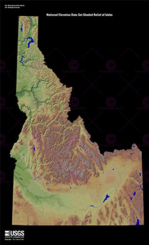MAP SATELLITE TOPOGRAPHY US STATE IDAHO OLD LARGE REPLICA POSTER PRINT PAM1439 Idaho State Map