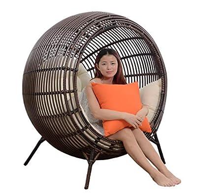 Nlne Lumbal Hängesessel Swing Basket Cradle Vogelnest Korbmatte Wicker Chair Erwachsenen Schaukelstuhl Kissen Indoor-Balkon-Pad von Nlne auf Gartenmöbel von Du und Dein Garten