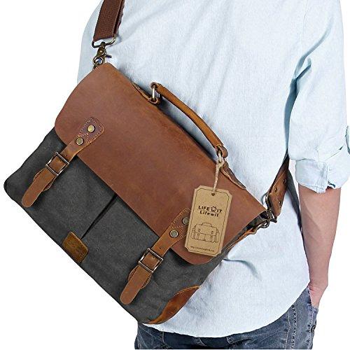 Lifewit Vintage Messenger Bag 15,6 Zoll Umhängetasche Aktentasche Schultertasche Laptoptasche Notebooktasche aus Canvas und Leder Kaffee Grau