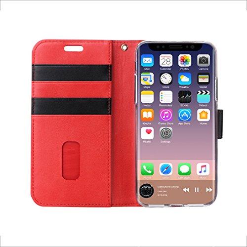 iPhone X Custodia,iPhone X Cover, ISIN Custodia Cellulare Serie Premium Pelle PU Stand Case Cover per Apple iPhone X 2017 Smartphone (Blu+Nero) Rosso