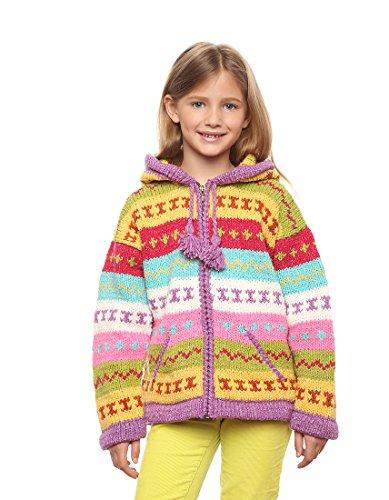 """Mädchen - Otavalo Wolle/Baumwolle-Mischung - Handgestrickete Kapuzenjacke """"Lumi"""" - Strickjacke mit Reißverschluss - Größe: 4-5 Jahre alt"""