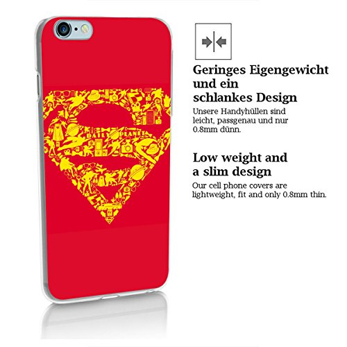 finoo | iPhone 8 Handy-Tasche Schutzhülle | ultra leichte transparente Handyhülle in harter Ausführung | kratzfeste stylische Hard Schale mit Motiv Cover Case |Batman face pixel Superman logo icons