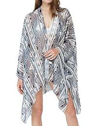 c632cb39167 Anglewolf Floral Kimono Cover Up Lightweight Chiffon Beachwear for Bikini  Cardigan Women Summer Beach Robe Kaftan
