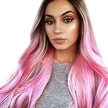 Mujeres Gradiente ondulado largo sintético de Peluca de pelo largo de color  degradado Cabeza Completa Pelucas 1c89e70d5b7a