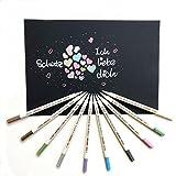 Metallic Marker, 10 Farben metallic Stifte Marker set für Kartenherstellung Fotoalbum DIY Gästebuch, Smiling Art