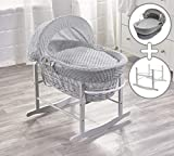 Grey Dimple Grey Wicker Moses Basket & Grey Rocking Stand