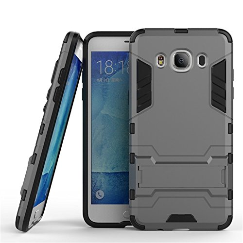 CASSIEY (TM) Tough Heavy Duty Shockproof Military Grade Armor Defender Series Dual Protection Layer Hybrid TPU + PC Kickstand Back Case Cover for Samsung Galaxy J5 (2016) J510 - Silver