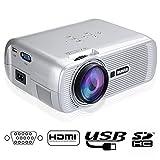 Proyectores HD, Proyector Portátil Videoproyector LED 800*480 Projector Home Cinema WIMIUS T2 Altavoces Incorporados (Libre de Cable HDMI)-Plata