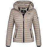 Marikoo SAMTPFOTE Damen Stepp Jacke Daunen Look Gesteppt Übergang XS-XXL 11-Farben, Größe:XS;Farbe:Deep Sand