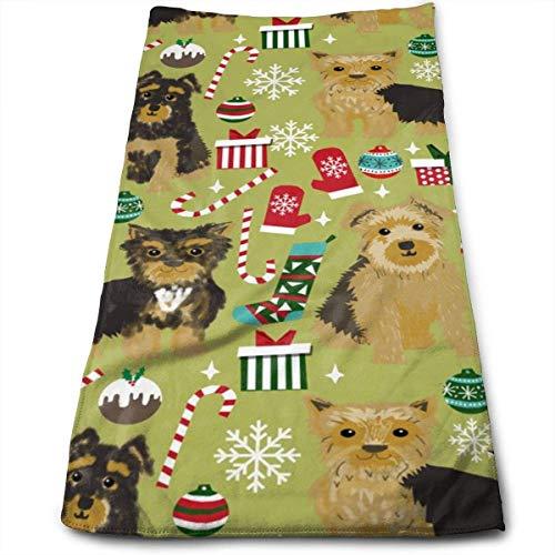 Wodann Yorkie Hund Weihnachten süße Yorkshire Terrier Weihnachten Design Yorkie Design Handtücher Geschirrtuch Floral Leinen Handtuch 11,8