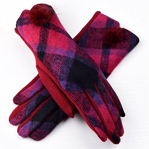 Lawevan 1 paire femmes vérifient des gants à écran tactile de motif hiver Mitterns chaud Se leva