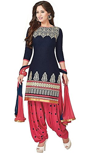 Women's Clothing Dress Material Designer Party Wear Today Low Price Sale Offer Navy Blue Color Poly Cotton Fabric Free Size Salwar Kameez Suit Dupatta  available at amazon for Rs.199