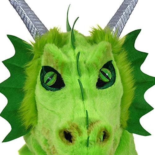 Dragon Kostüm Reiter - Hochwertige Materialien Animal Furry Mask Premium Kopf Hals Tier Masken pelzigen handgefertigten Halloween beweglichen Mund Maske Orange Dragon Simulation Tier Maske Tierhalsmaske (Color : Green)
