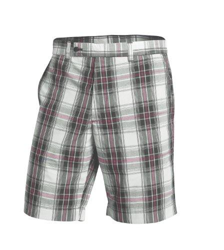 Fila Golf Men's Milos Plaid Bermuda Short (Silver Plaid, 34-Inch)