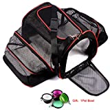 Cat Carrier Airline Approved, Wanfei Expandable Pet Carrier Bag Soft Dog Cat Travel Carrier with Two Side Extension and Plush Mat for Kittens and Puppies, Used for Car and Luggage