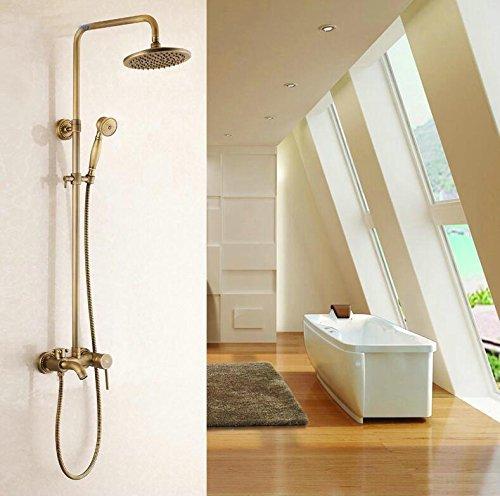 Finitura in ottone anticato, stile 3Bagno precipitazioni con spray doccia resistente ottone rubinetto Set hj-6500 antique