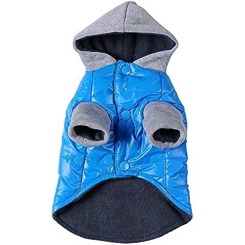 Awhao Mascotas ropa para perros con capucha de invierno Ropa caliente azul Outwear la capa
