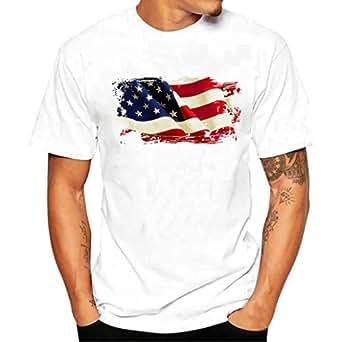 DoraMe Camicie Polo T-Shirt da Uomo Slim Manica Corta Lettera Maglietta Shirts Camicia Camicetta Cappotto Maglione Giacca Felpe Pullover Hoodie Uomini Poliester - American Flag (Asia L)