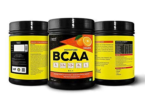 Healthvit Fitness BCAA 6000mg 2:1:1 with L-Glutamine & L-Citrulline Malate, 200g(Orange) (10 Servings) Tangy Orange