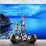 Guyuell Carta Da Parati Per Pareti 3 D Blue Seaside Castle Landscape Carta Da Parati Personalizzata Murales Camera Per Gli Ospiti Balcone Decorazione Sfondo Muro-300Cmx210Cm