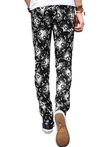 Hommes Imprimé Taille Moyenne Braguette Zip Fermeture Bouton Slim Fit Pantalon Décontracté lettres noires