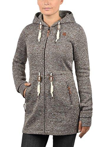 DESIRES Thora Damen Lange Fleecejacke Sweatjacke Jacke Mit Kapuze Und Daumenlöcher, Größe:S, Farbe:Coffee Bean (5973) - 2