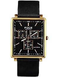 FOCE Black Square Analog Wrist Watch for Men with Black Genuine Leather Strap - F722GRL-BLACK