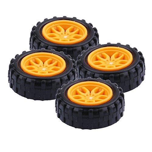 Yeeco 4 Stück Kunststoff Spielzeug Auto Reifen Rad, Mini Φ2 * 18mm Intelligent RC Auto Roboter Reifen Modell Gang Teile