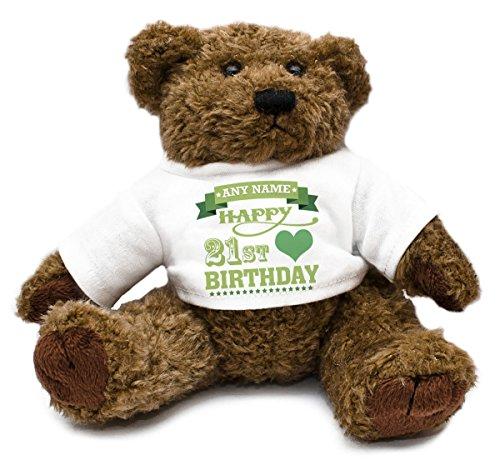 Personalizzabile Verde 21st compleanno cuori Orsetto per