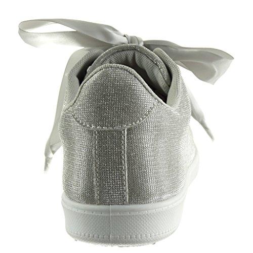 Angkorly - Scarpe da Moda Sneaker suola di sneaker donna Lacci in raso Tacco tacco piatto 2 CM Argento