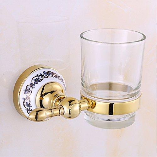 Preisvergleich Produktbild Mundwasser Becher Glas Doppel Glas antikes Gold-Plated blau-weiß Porzellan Badezimmer alle Kupfer Anhänger, vergoldet Single Becher